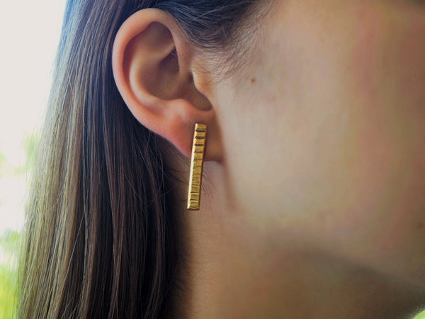 Textures collection - vertical handmade hammered textured earrings