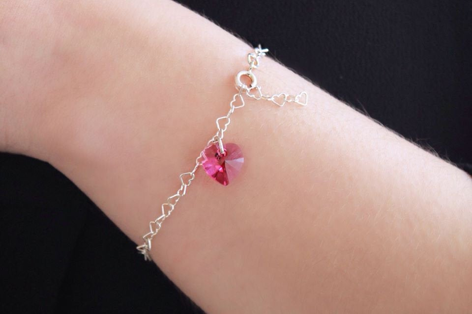 Swarovski - serling silver bracelet with Swarovski crystal heart