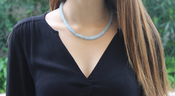 Aquamarine 7 mm rondelles necklace