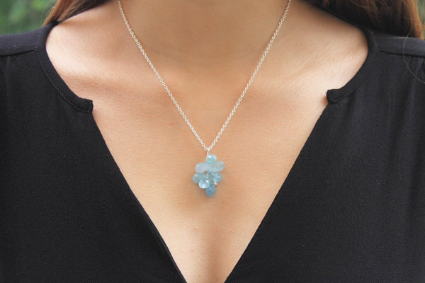 Aquamarine briolette pendant and sterling silver chain necklace