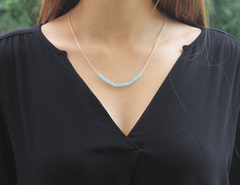 Aquamarine 2 mm rondelles and silver chain necklace