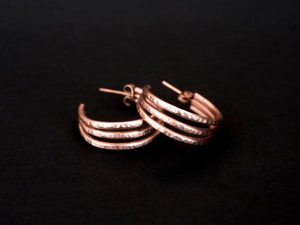 Trio collection - handmade hammered earrings - L and XL sizes