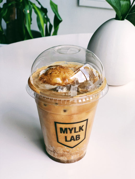 Caramel Latte (iced or hot) with Almond Mylk