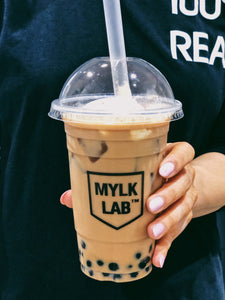 Iced Earl Grey Tea with Almond Mylk and Tapioca Pearls