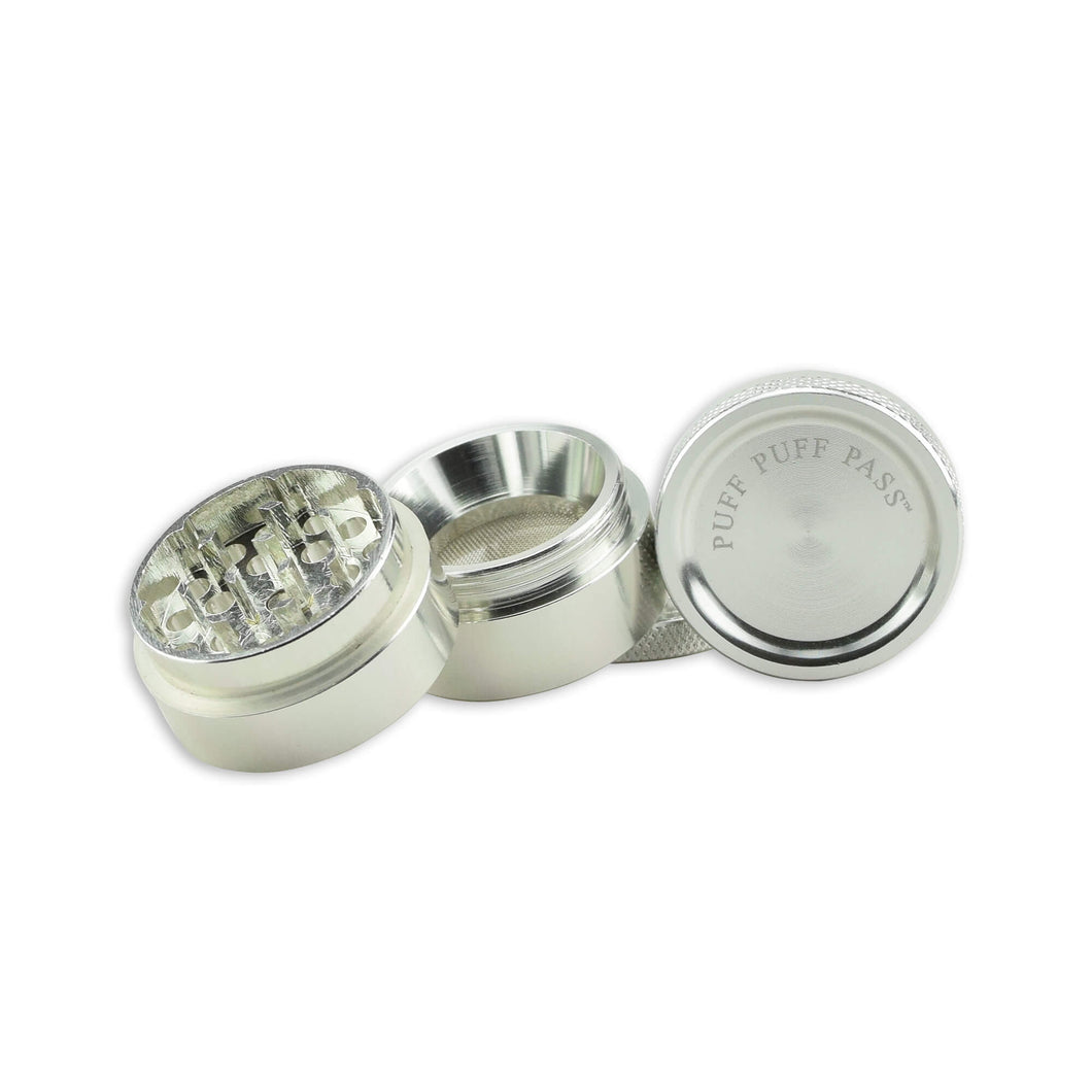 Puff Puff Pass 30mm 4 piece Grinder - Silver