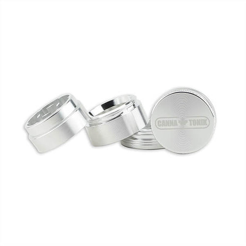Cannatonik 4-piece Aluminum Grinder Shreds Cannabis, Stores It and Separates Out the Kief - 30mm - Silver
