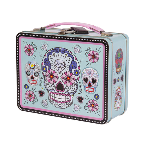 Sugar skulls lockable lunch box with Ryot combination lock - Blue & Pink - 420Way