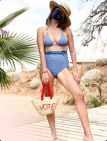 Ali Markenson with her POOLSIDE Vote Tote Bag