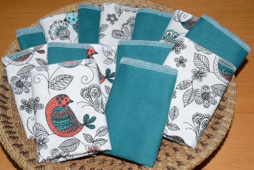 Paperless Towels-Birds and Blooms, Teal
