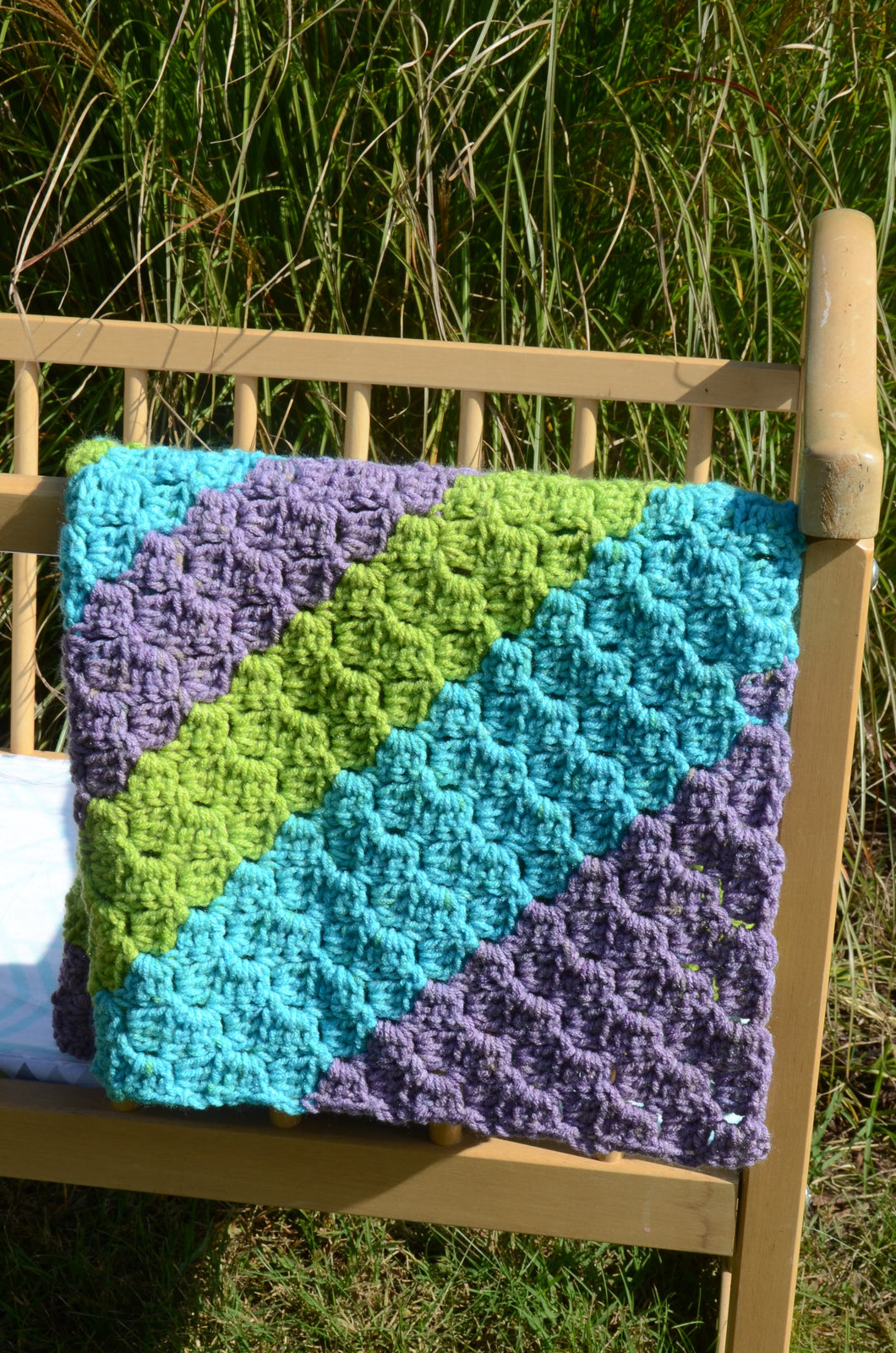 Hand Crochet Baby Blanket in Purple, Blue, and Green