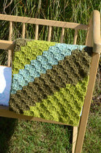 Load image into Gallery viewer, Hand Crochet Baby Blanket in Brown, Green, and Blue