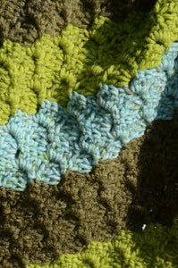 Hand Crochet Baby Blanket in Brown, Green, and Blue