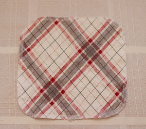 Cotton Napkins/ Face Cloths, Red and Gray Plaid
