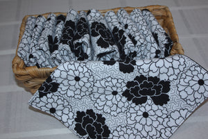 Black and White Floral Paperless Towels
