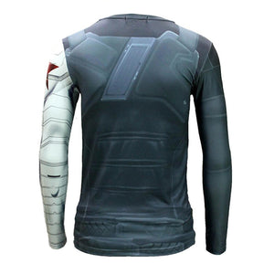 Bucky Barnes T shirt Captain America 2 Winter Solider Lycra Printed Long Sleeve T-shirt
