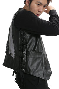 Daryl Dixon Vest The Walking Dead Daryl Dixon Wings Leather Vest Black Adult Mens Fashion Jacket - Xcoser Costume