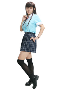 Boku Dake ga Inai Machi Airi Katagiri Costume Uniform Cloth Sky Bule Shirt and Plaid Skirt Custom Made