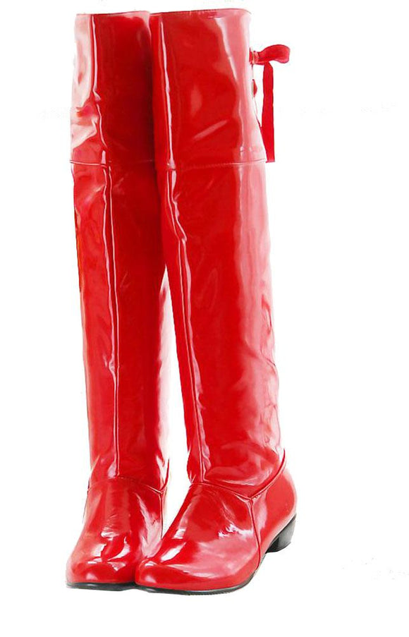 Supergirl Boots Red PU Over Knee Cosplay Costume for Girls