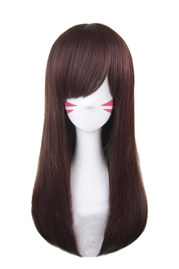 Overwatch D.Va Wig Long Straight Brown Wig D.Va Cosplay Wig - Xcoser Costume
