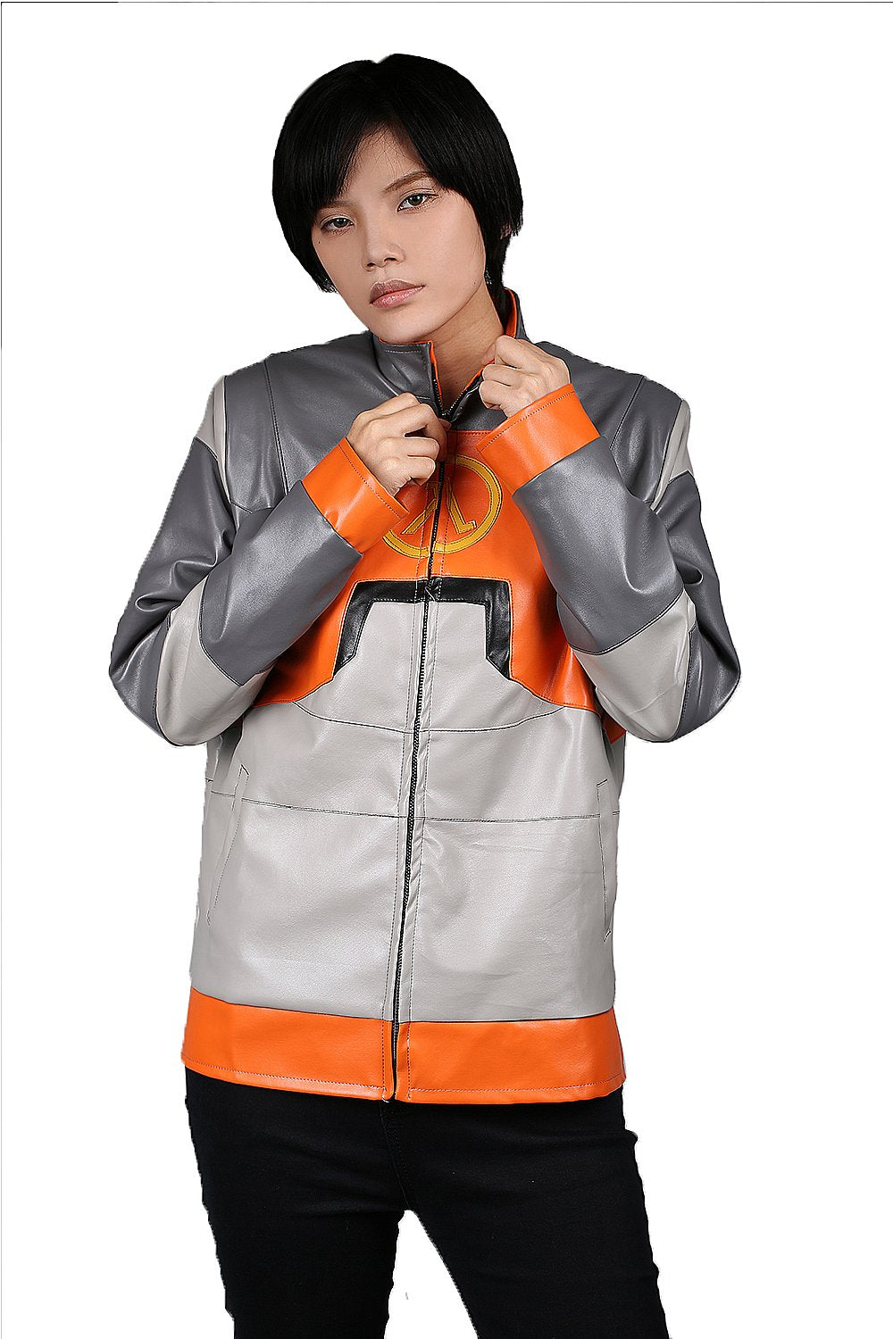 Half-Life 1 Dr. Gordon Freeman Leather Jacket Gray & Orange PU Leather Jacket - Xcoser Costume