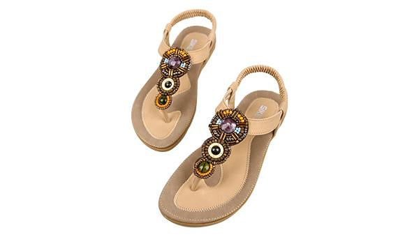 Moana Waialiki Sandal Khaki & Black PU Leather Flat Sandal Bohemian Style Shoes