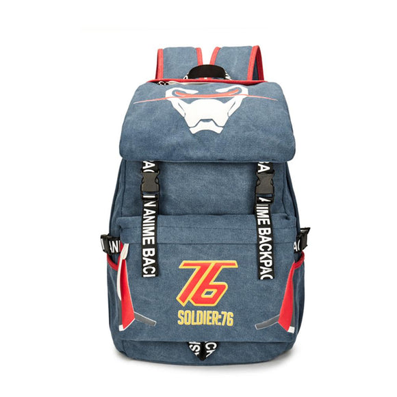 Overwatch Soldier 76 Cosplay Backpack Deluxe Canvas School Bag Laptop Bag for Teenagers