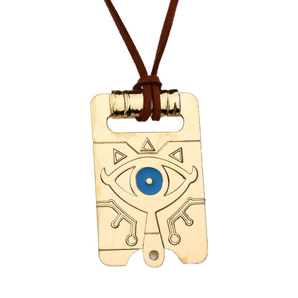 The Legend of Zelda Link Rectangle Slate Pattern Alloy Golden Necklace