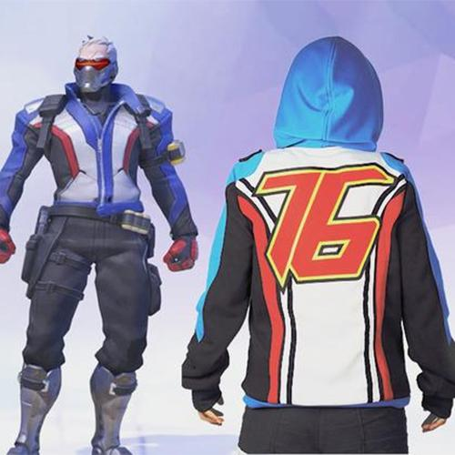 Xcoser Overwatch Soldier 76 Hoodie Casual Cotton Cosplay Costume