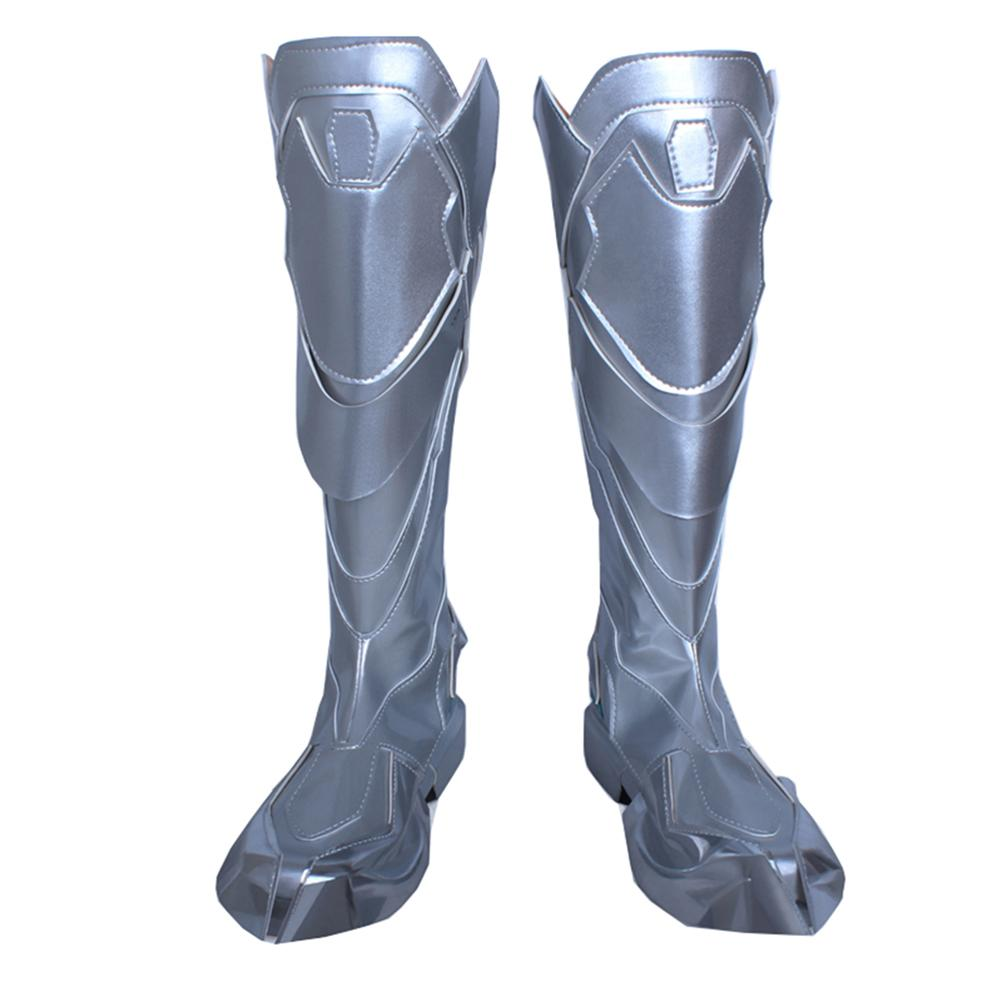 Overwatch Hanzo Shimada Cosplay Shoes Silvery PU Riding Boots Cosplay Shoes