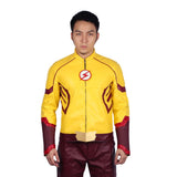 Xcoser The Flash Season 3 Wally West Jacket Zipper PU Jacket Kid Flash Cosplay Costume