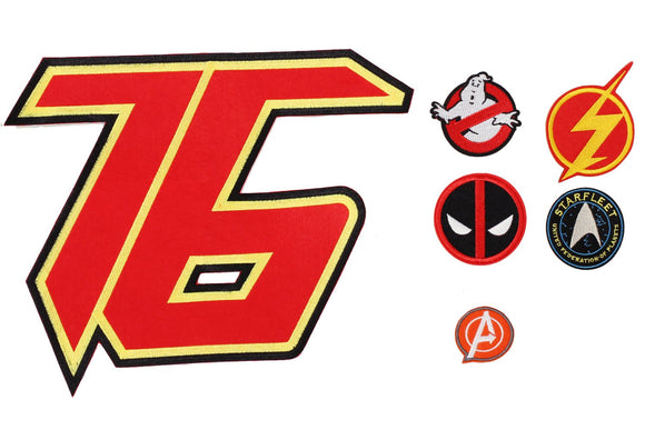 Xcoser Movie Cosplay Accessories Movie Logo Embroidered Patch Badge Iron on Sew on Fabric Applique 6PCS