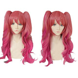Rakudai Kishi no Cavalry Stella Vermillion Wig Long Red Wavy Wig with Clip on ponytails