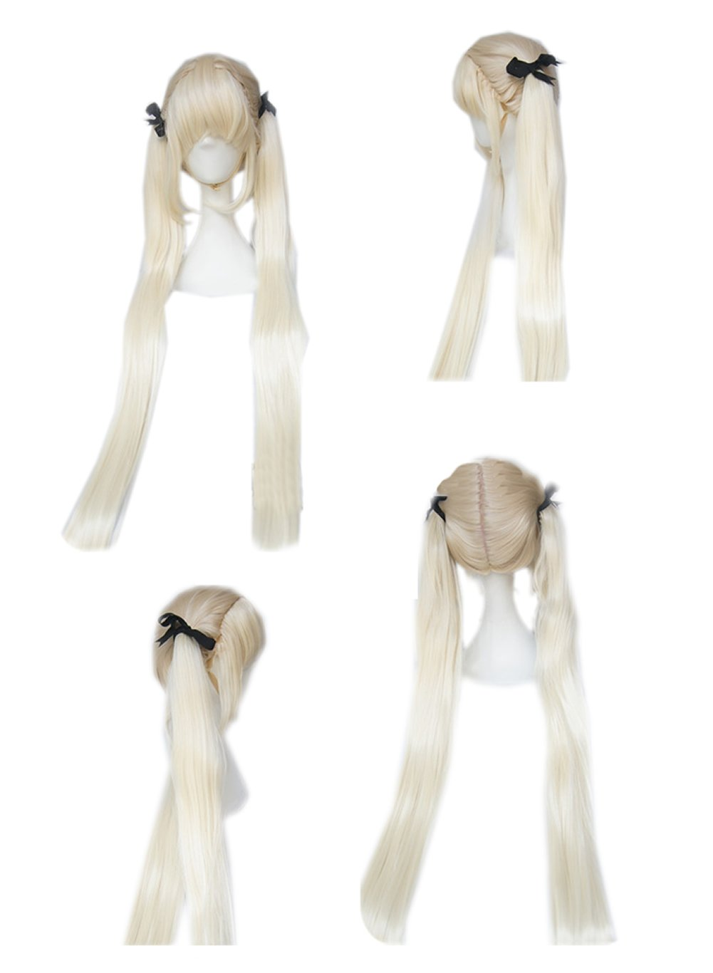 Blood Blockade Battlefront White Cosplay Long Straight Wig With Bunches