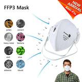 4 pcs Disposable Face Masks N99 Flat Fold FFP3 Mask with Valve Breathable for Blocking Dust Bacteria Virus