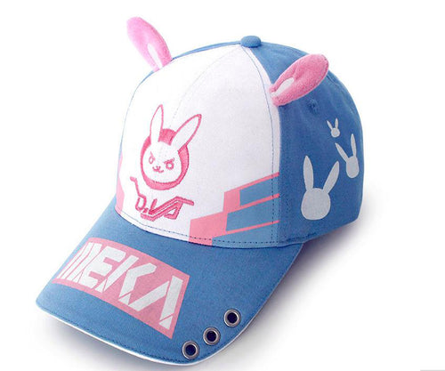 X-COSTUME Overwatch D.VA Baseball Hat Girls Dual Bunny Ear Cap Lovely Snap-Back Hat Size Adjustable