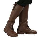 Xcoser New Arrival The Rocketeer Cliff Secord Cosplay Shoes Brown PU Knee-high Boots for Halloween and Cosplay