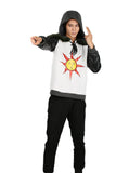 Dark Souls Solaire Hoodie White Cotton & PU Leather Hoodie - Xcoser Costume