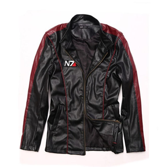 Mass Effect Cosplay Jacket Black PU Leather Jacket Cosplay Costume