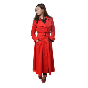 Carmen Sandiego Cosplay Costume Bright Red Cotton Overcoat for Woman