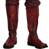 Xcoser Wally West Dark Red PU Knee-high Boots Kid Flash Cosplay Shoes