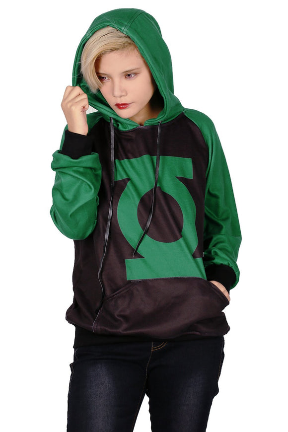 Xcoser Green Lantern Logo Pullover Sweater Unisex Hoodie Cosplay Costume in Spring and Autumn