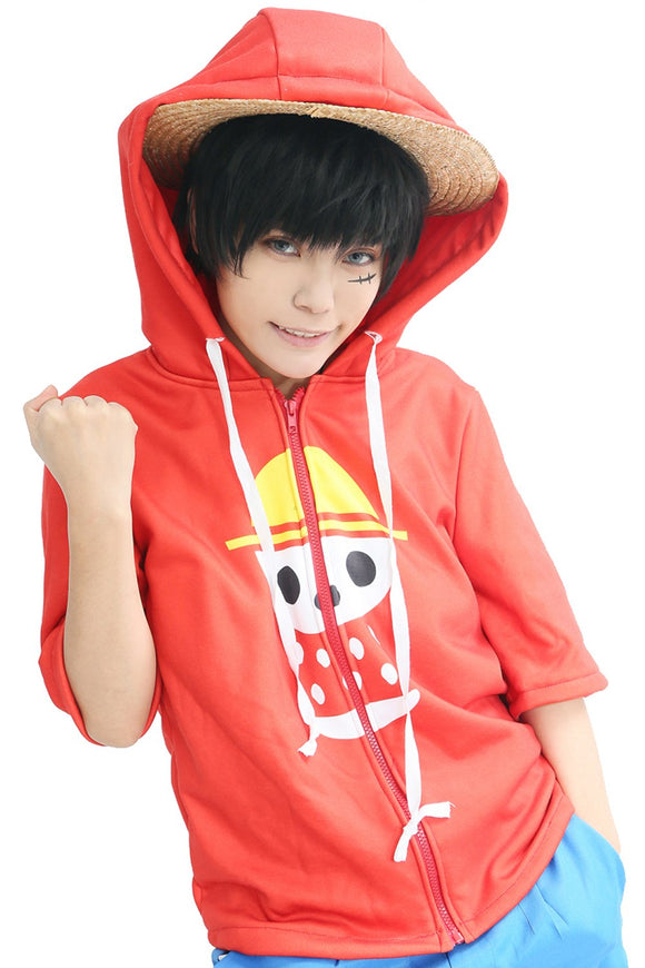 Luffy Hoodie One Piece Cosplay Fashion Red Middle Sleeve Hooded T shirt Costume - Xcoser Costume