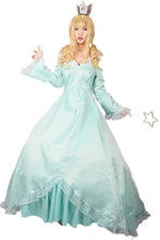 Super Mario Princess Rosalina Cosplay Costume Elegant Aqua Blue Womens Off Shoulder Dress