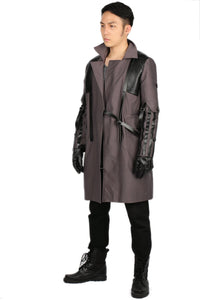 Adam Jensen Gray Cotton Overcoat Game Deus Ex: Mankind Divided Cosplay Costume in Men's Size - Xcoser Costume