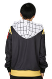 Xcoser Fairy Tail Hoodie Cosplay Costume Color Matching Zip-Up Hooded Sweatshirt With Front Pockets