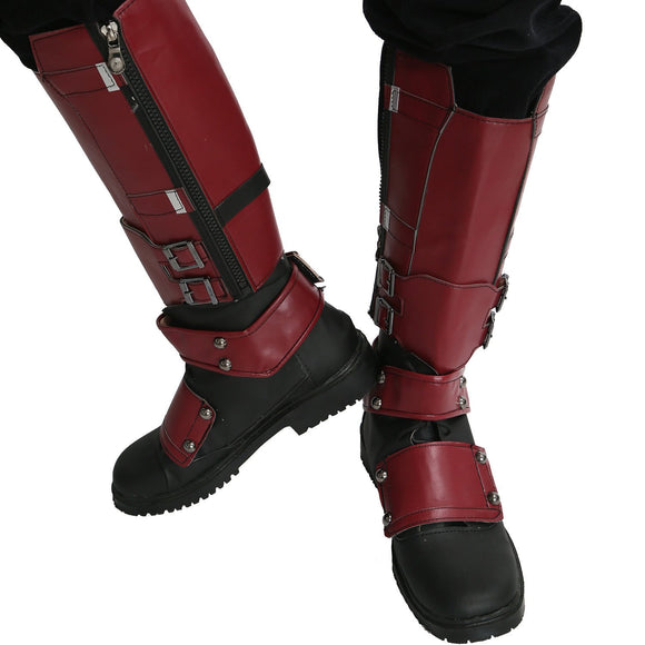 Marvel Movie Cosplay PU Adult Deadpool Shoes