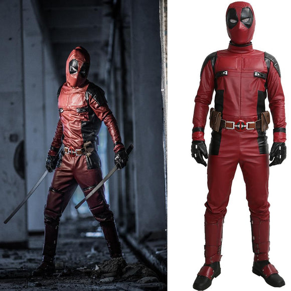 Deadpool Costume Deadpool Cosplay PU Outfit with Helmet Belt - Xcoser Costume