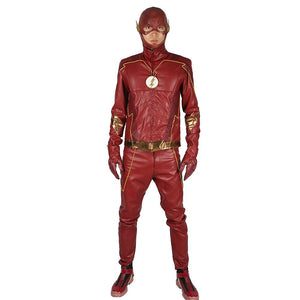 Xcoser The Flash season 4 Red PU Barry Allen Costume For Adult Halloween Cosplay