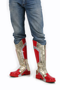 Xcoser Iron Man Boots Pu Leather Mid-calf Boots Iron Man Cosplay Shoes in Custom-Made