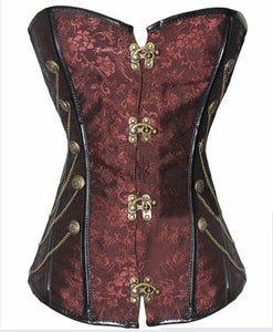 Steampunk Corset Gothic Punk Steel Boned Brocade Overbust Corset With Chains